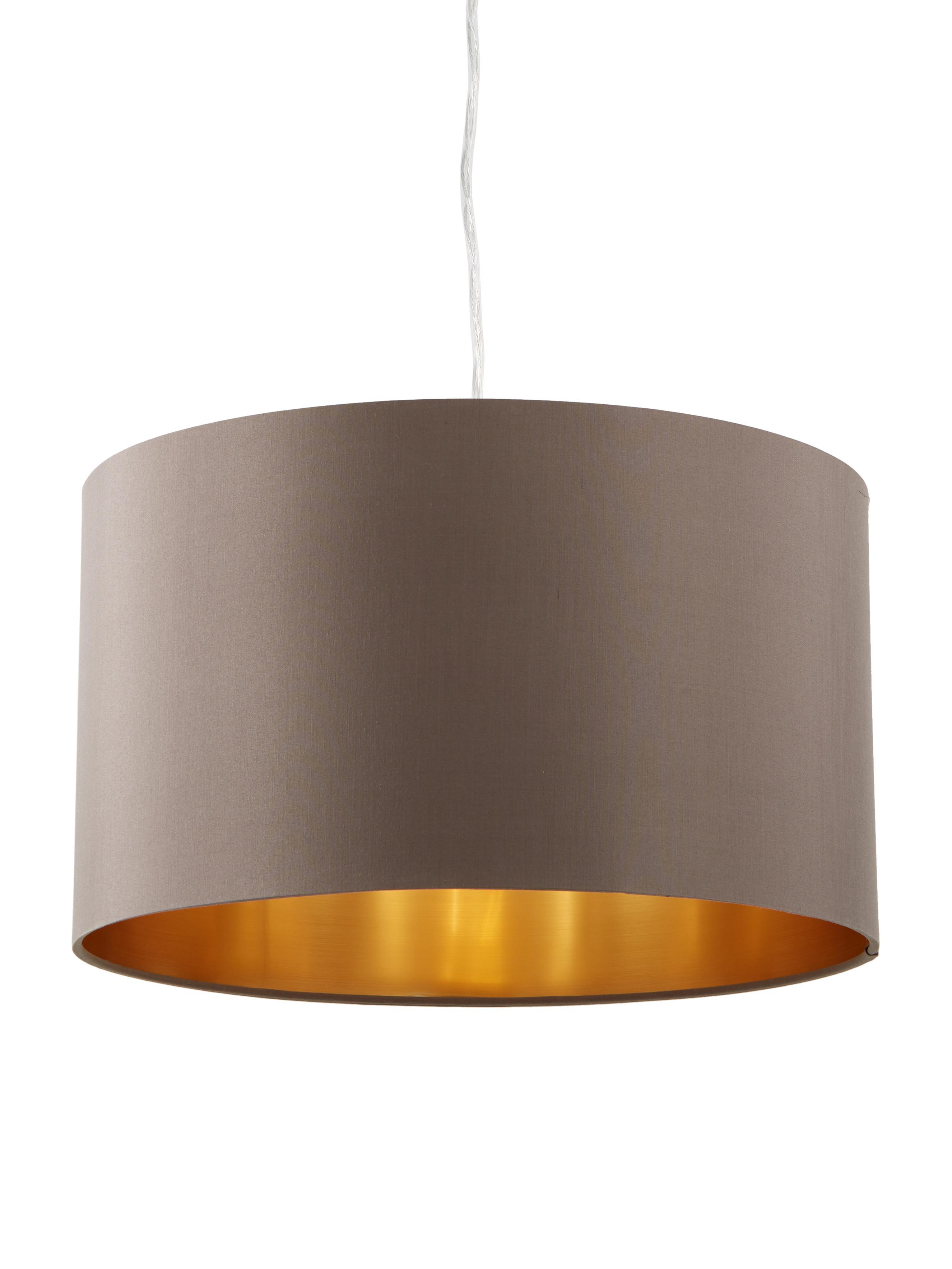 Pendelleuchte Jamie, Baldachin: Metall, vernickelt, Silberfarben, Grau-Beige, ∅ 38 x H 23 cm