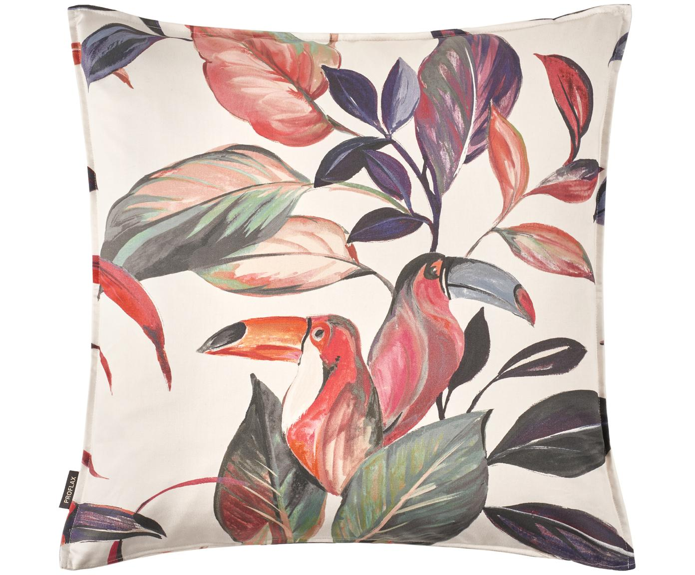 Baumwollsatin-Kissenhülle Acapulco mit tropischem Motiv, Webart: Satin, Creme, Mehrfarbig, 50 x 50 cm