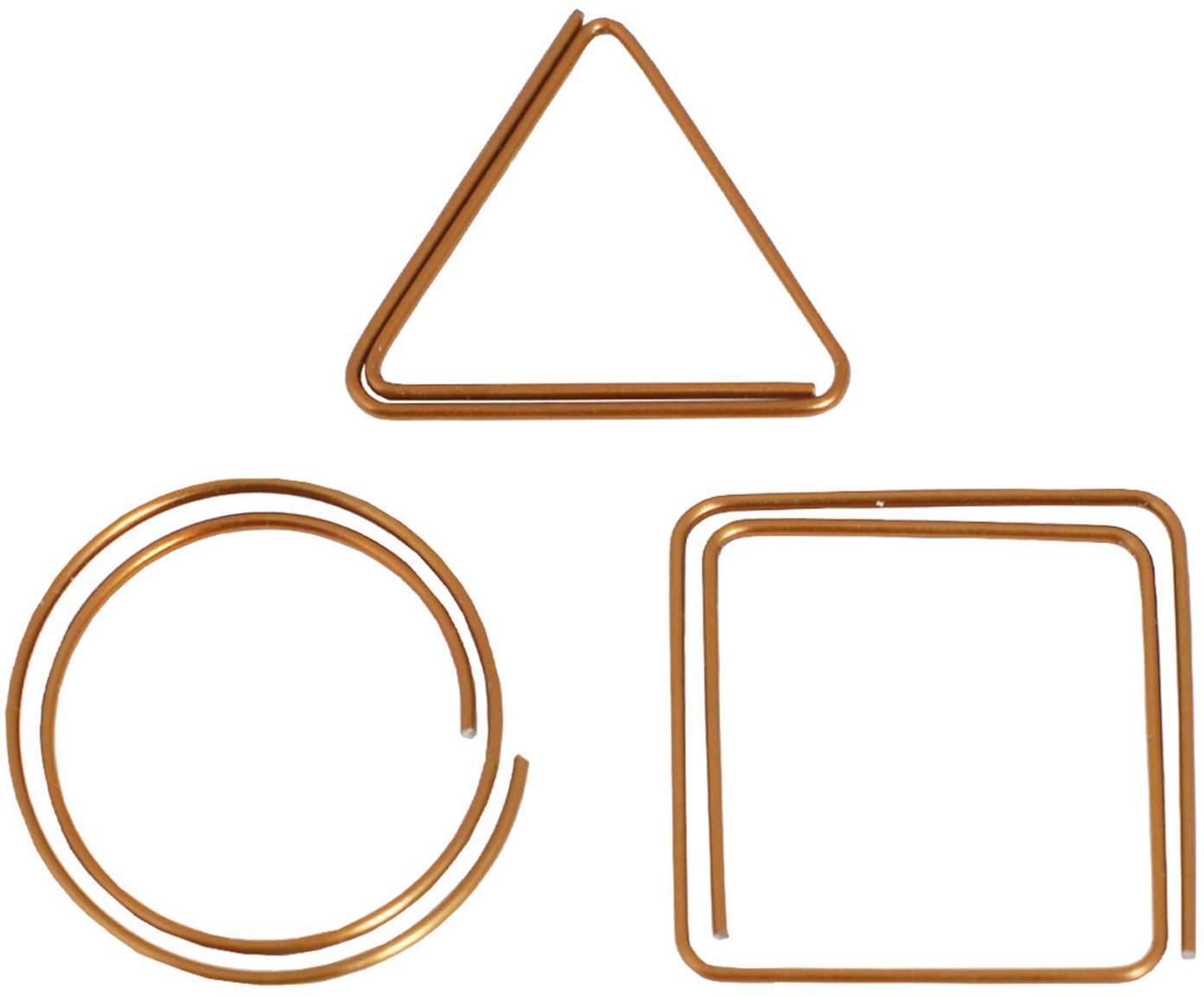 Set di graffette Geometria, 9 pz., Metallo verniciato, Rame, Larg. 3 x Alt. 3 cm