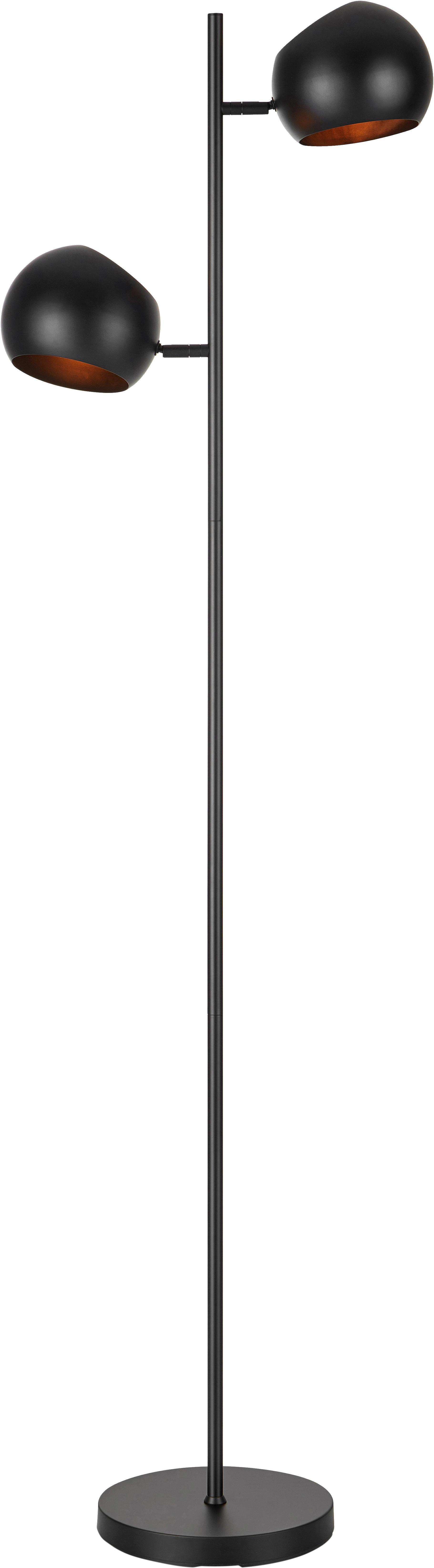 Stehlampe Edgar in Schwarz, Lampenschirm: Metall, lackiert, Lampenfuß: Metall, lackiert, Schwarz, 40 x 145 cm
