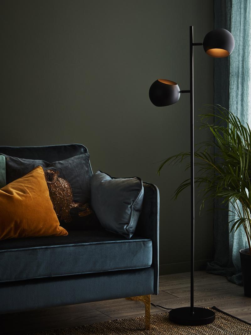 Vloerlamp Edgar, Gelakt metaal, Zwart, B 40 cm