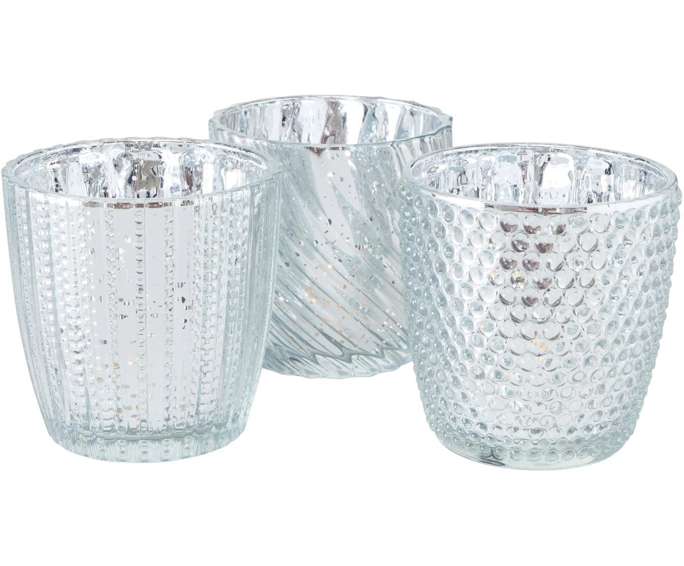 Teelichthalter-Set Matia, 3-tlg., Glas, Silberfarben, Ø 8 x 9 cm