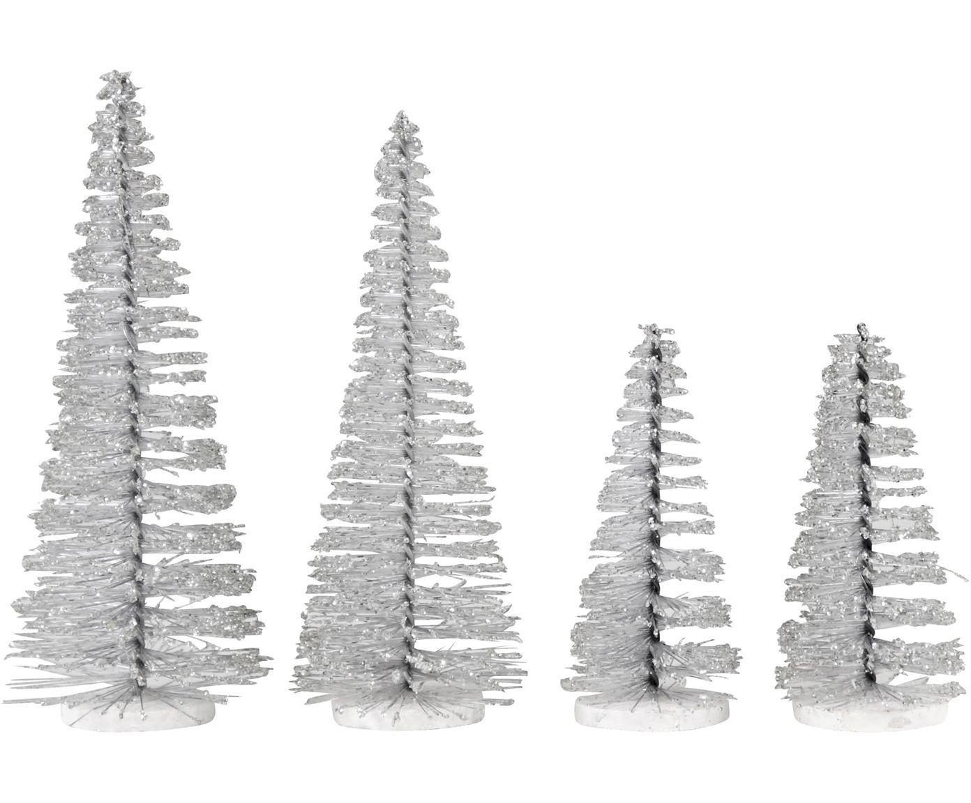 Deko-Objekt-Set Glam, 4-tlg., Kunststoff, Metall, Silberfarben, Sondergrößen