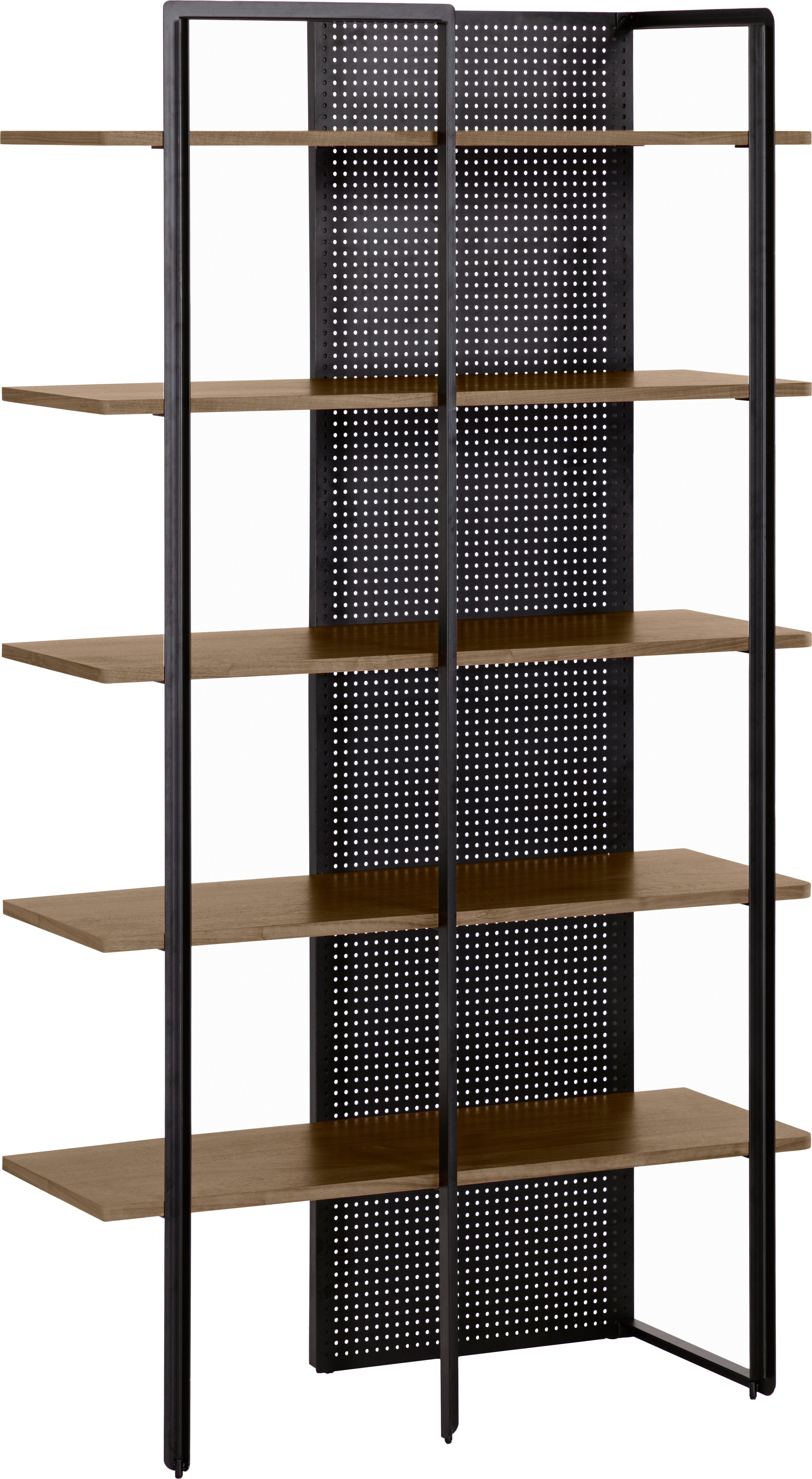 Scaffale industriale in legno e metallo Nadyria, Struttura: metallo verniciato, Ripiani: pannello di fibra a media, Nero, marrone chiaro, Larg. 100 x Alt. 180 cm