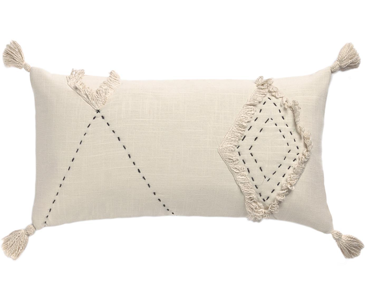 Kissenhülle Lienzo mit Hoch-Tief-Muster, 100% Baumwolle, Gebrochenes Weiß, 30 x 60 cm