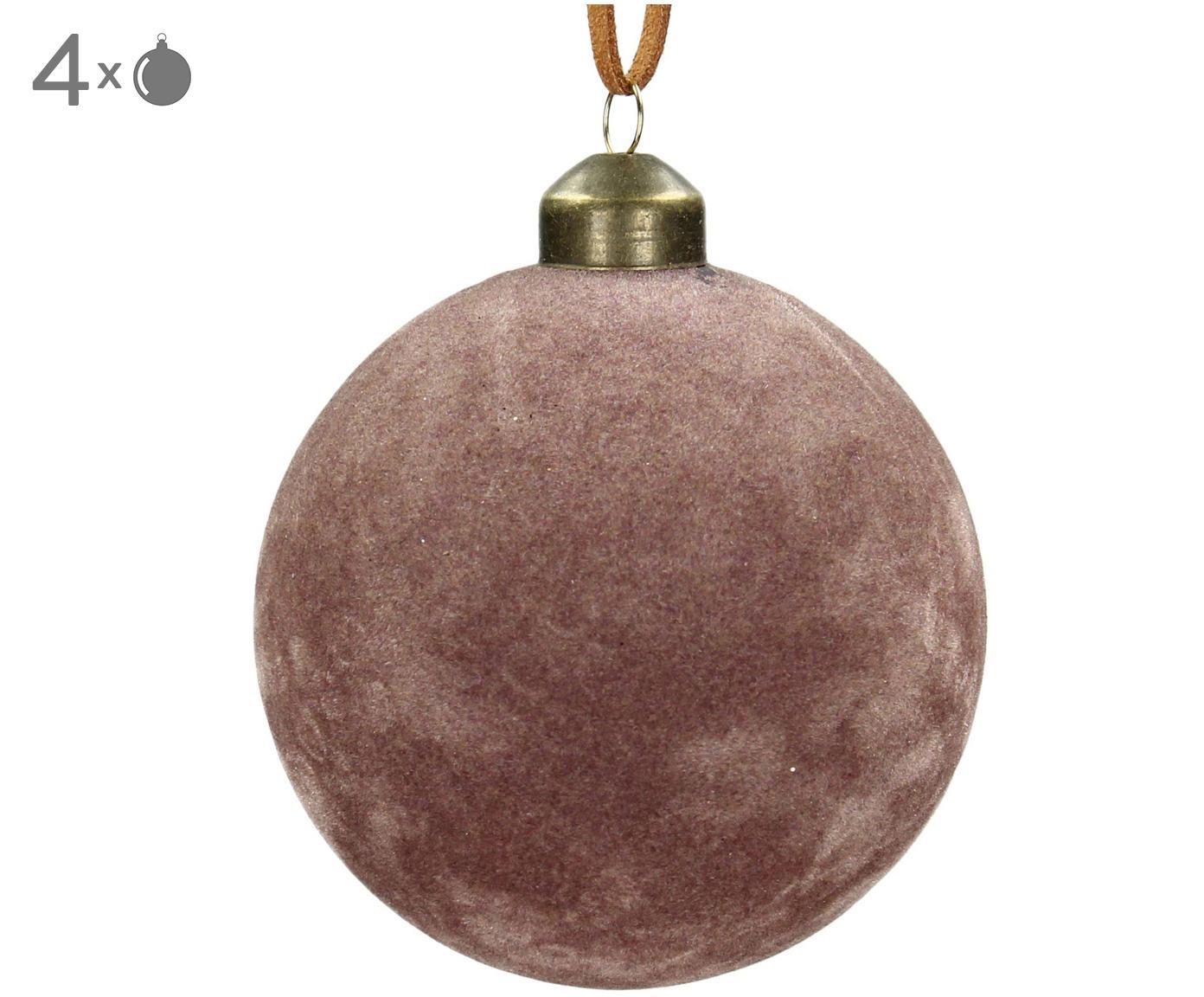 Kerstballen Velvet, 4 stuks, Glas, polyesterfluweel, Roze, Ø 8 cm