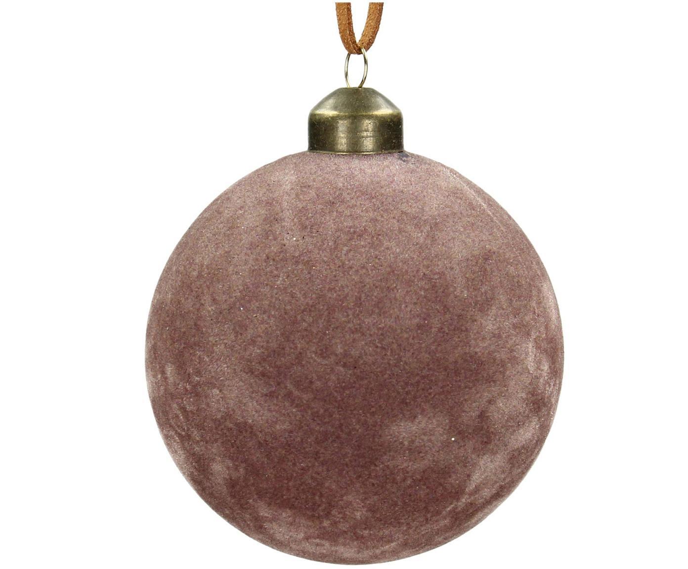 Weihnachtskugeln Velvet Ø8cm, 4Stück, Glas, Polyestersamt, Rosa, Ø 8 cm