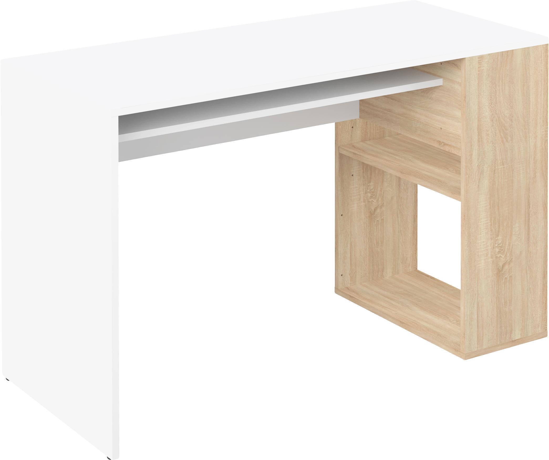 Schreibtisch Yale mit Stauraum, Spanplatte, melaminbeschichtet, Weiss, Eichenholz, B 114 x T 50 cm