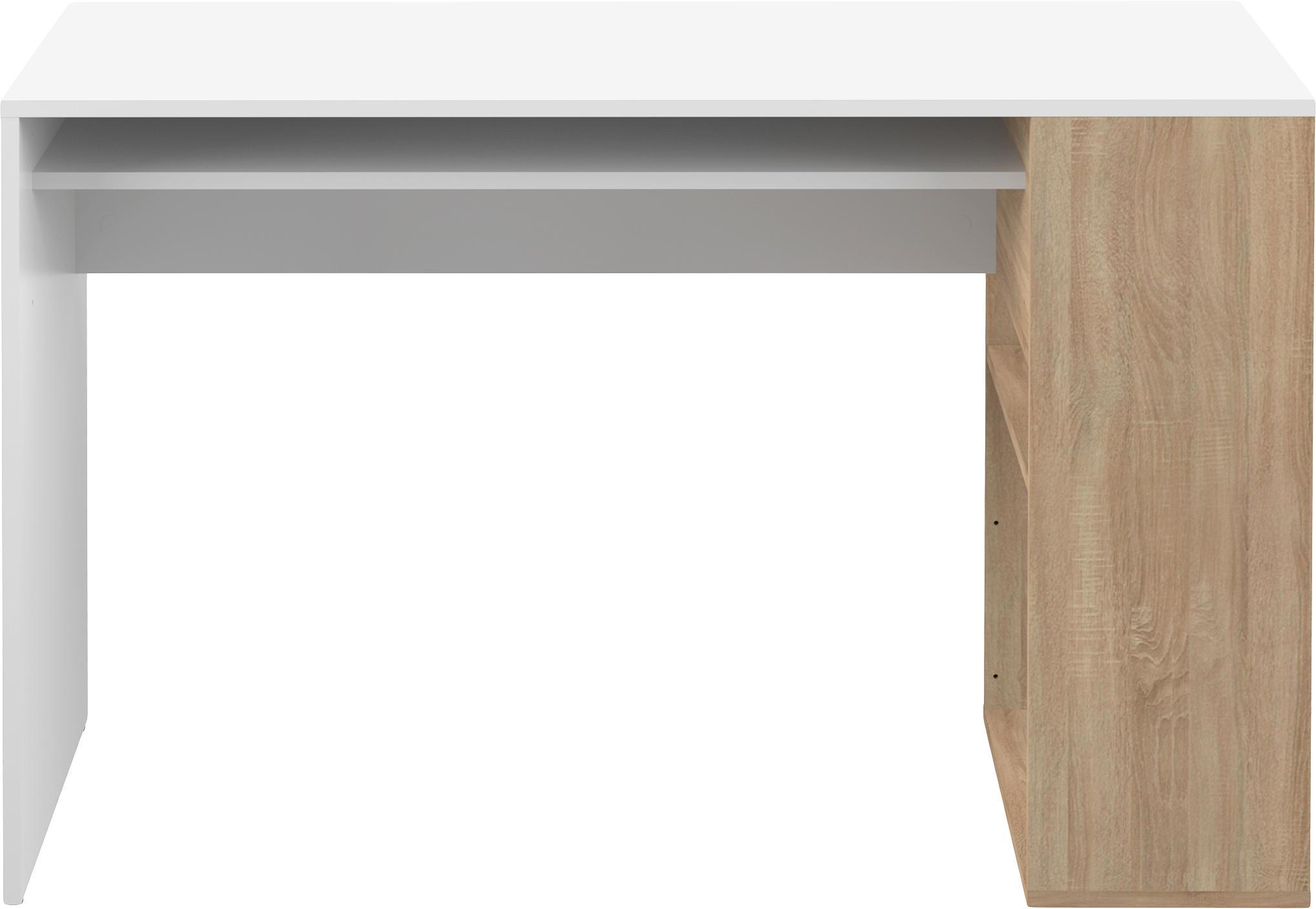 Scrivania con ripiani Yale, Truciolato, melaminico, Bianco, legno di quercia, Larg. 114 x Alt. 76 cm