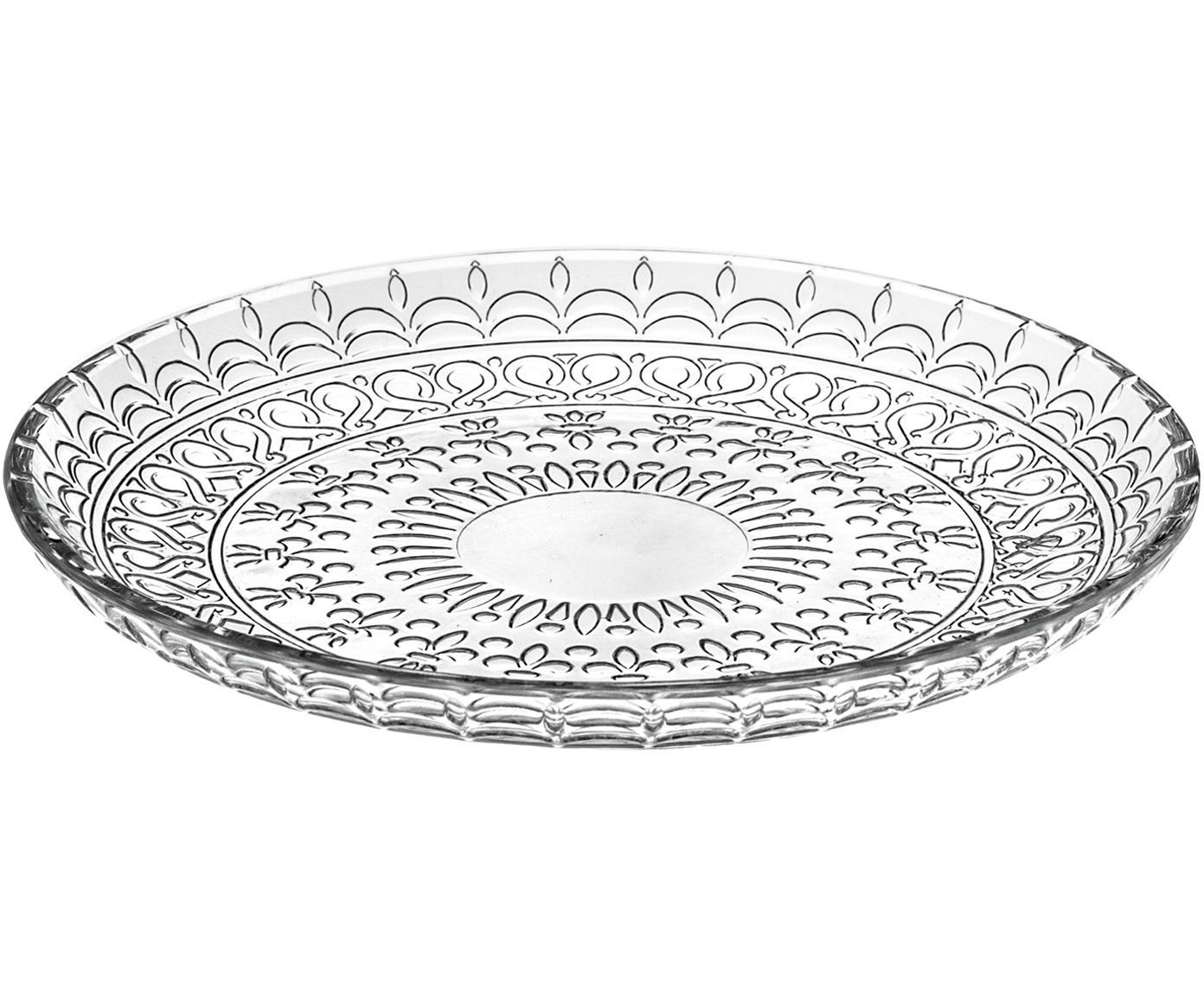 Kristall-Dessertteller Fondo, 4 Stück, Luxion-Kristallglas, Transparent, Ø 21 cm