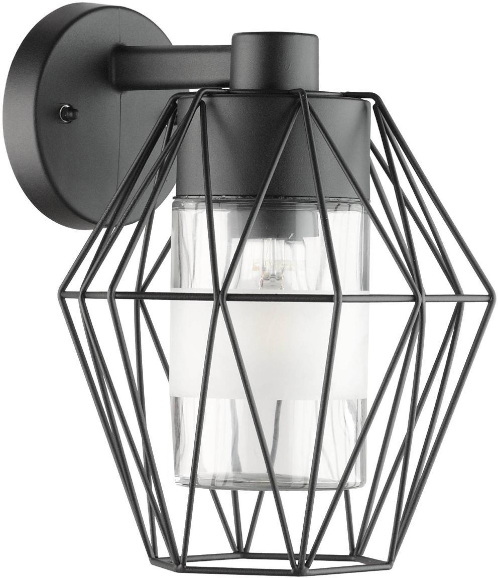 Außenwandleuchte Canove, Lampenschirm: Glas, satiniert, Schwarz, 23 x 24 cm