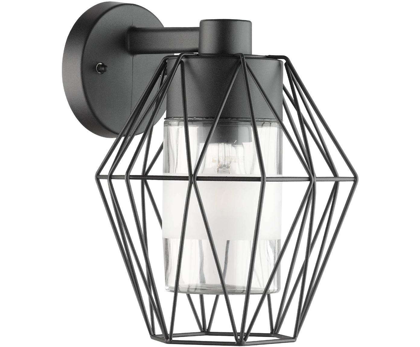 Aplique para exterior Canove, Pantalla: vidrio satinado, Estructura: acero galvanizado, Negro, An 23 x F 24 cm