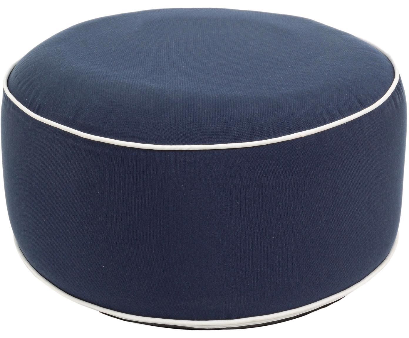 Pouf da esterno Rihanna, Blu, bianco, Ø 53 x Alt. 23 cm