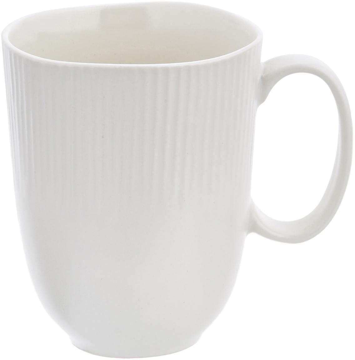 Tazza in terracotta fatta a mano Sandvig 4 pz, Porcellana, tinta, Bianco latteo, Ø 8 x Alt. 10 cm