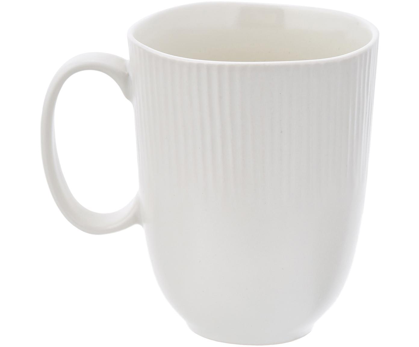 Handgefertigte Tassen Sandvig mit leichtem Rillenrelief, 4 Stück, Porzellan, durchgefärbt, Gebrochenes Weiss, Ø 8 x H 10 cm