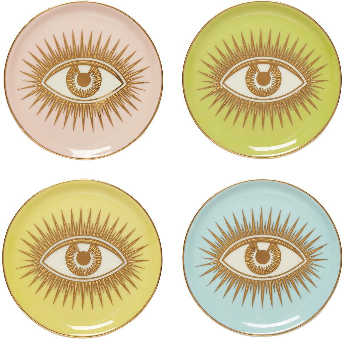 Set de posavasos de diseño Le Wink, 4pzas., Porcelana, Multicolor, Ø 10 x Al 2 cm