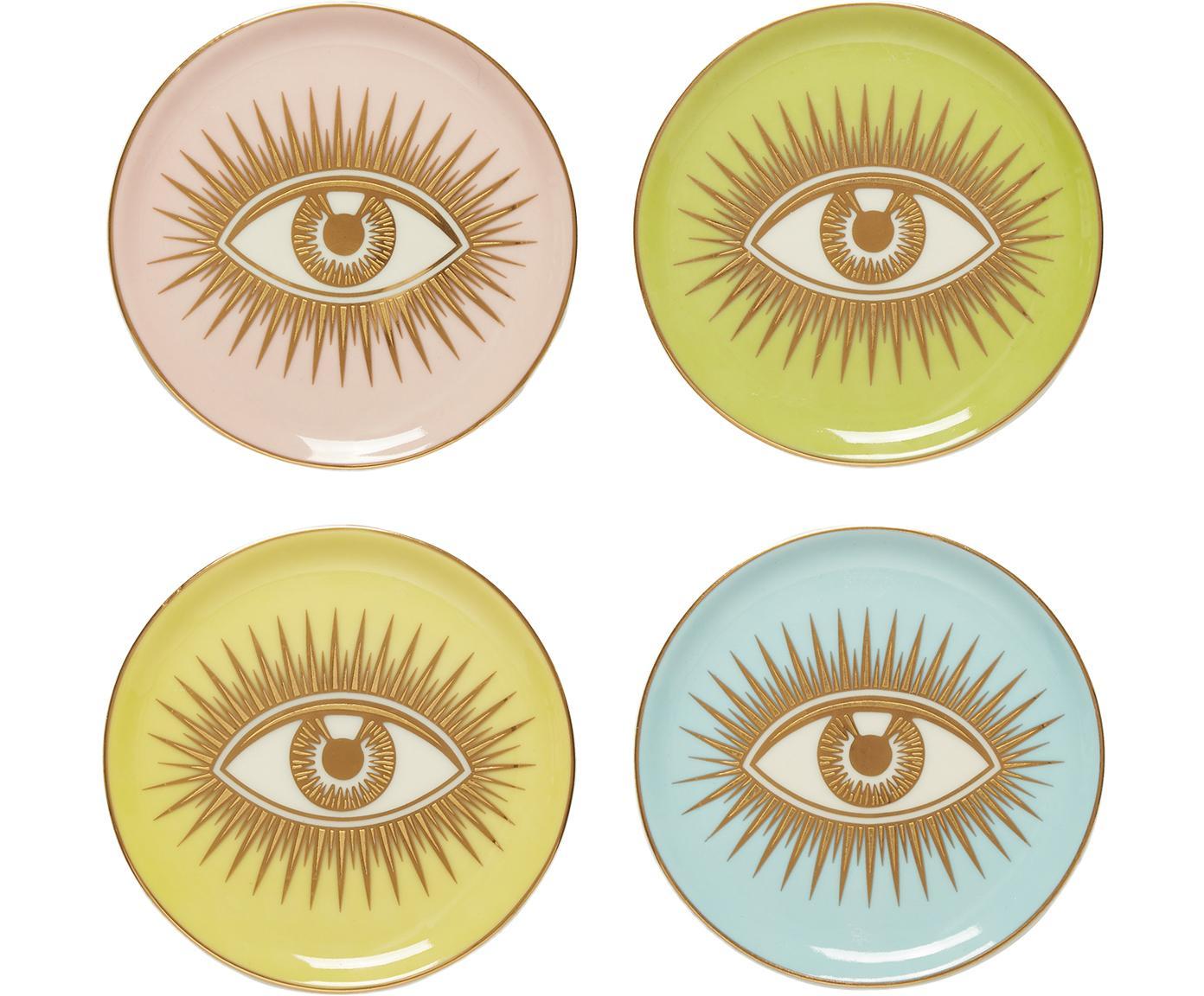 Onderzettersset Le Wink, 4-delig, Porselein, Multicolour, Ø 10 x H 2 cm