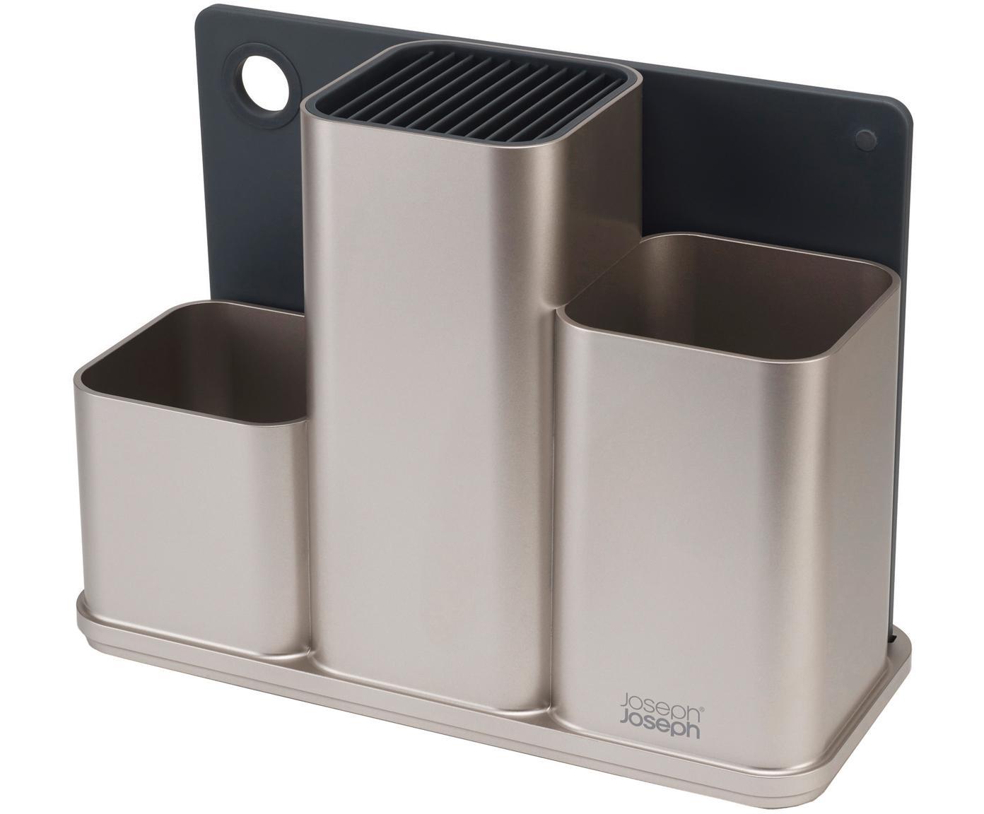 Küchenutensilienhalter CounterStore mit Schneidebrett, 2-er Set, Silberfarben, Dunkelgrau, 31 x 23 cm