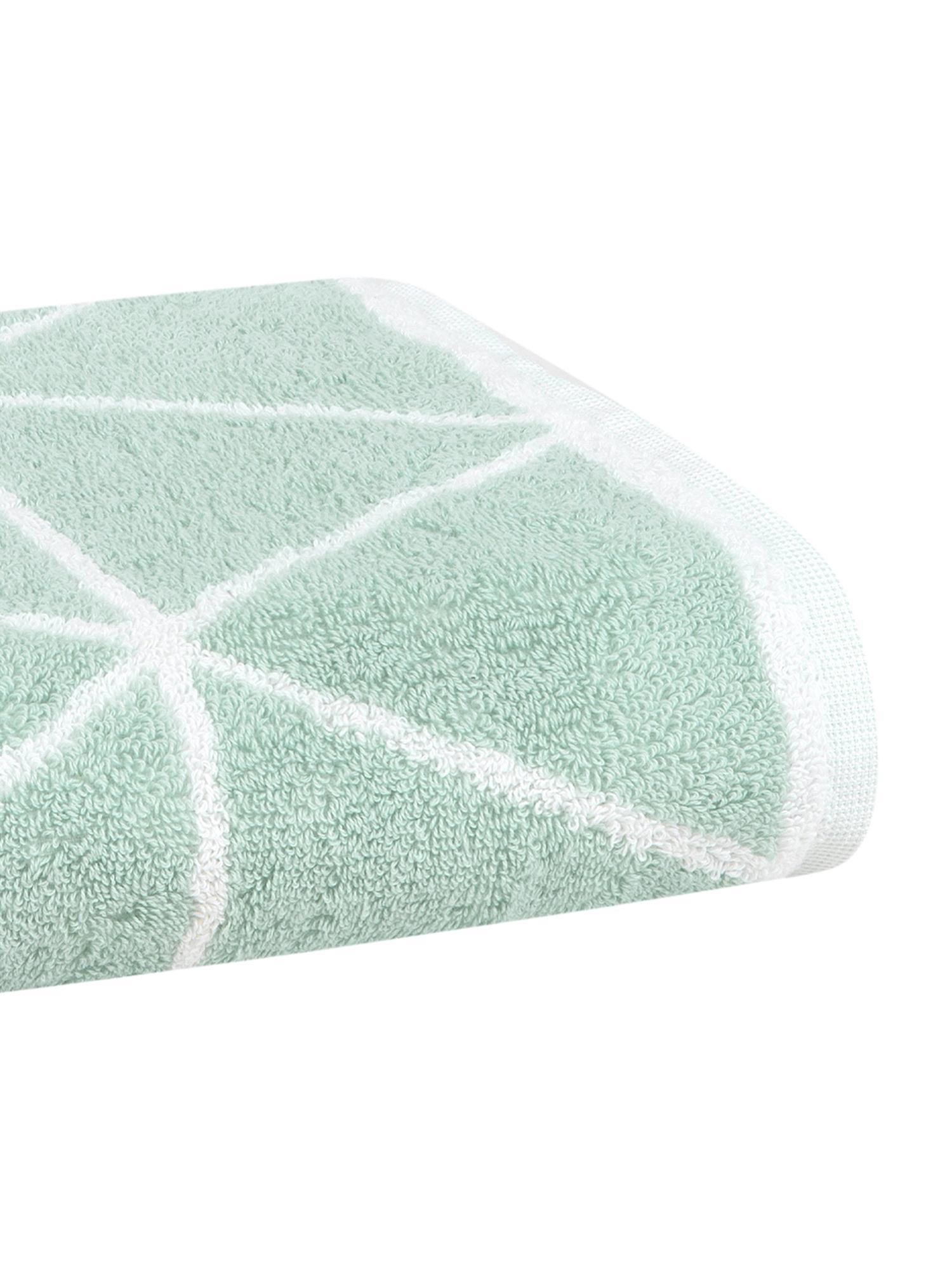 Set 3 asciugamani reversibili Elina, Verde menta, bianco crema, Diverse dimensioni