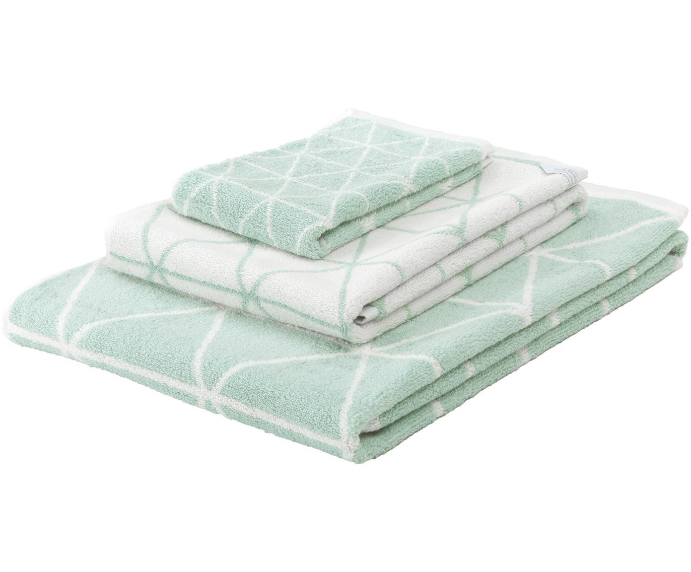 Set de toallas, caras distintas Elina, 3pzas., Verde menta, blanco crema, Tamaños diferentes