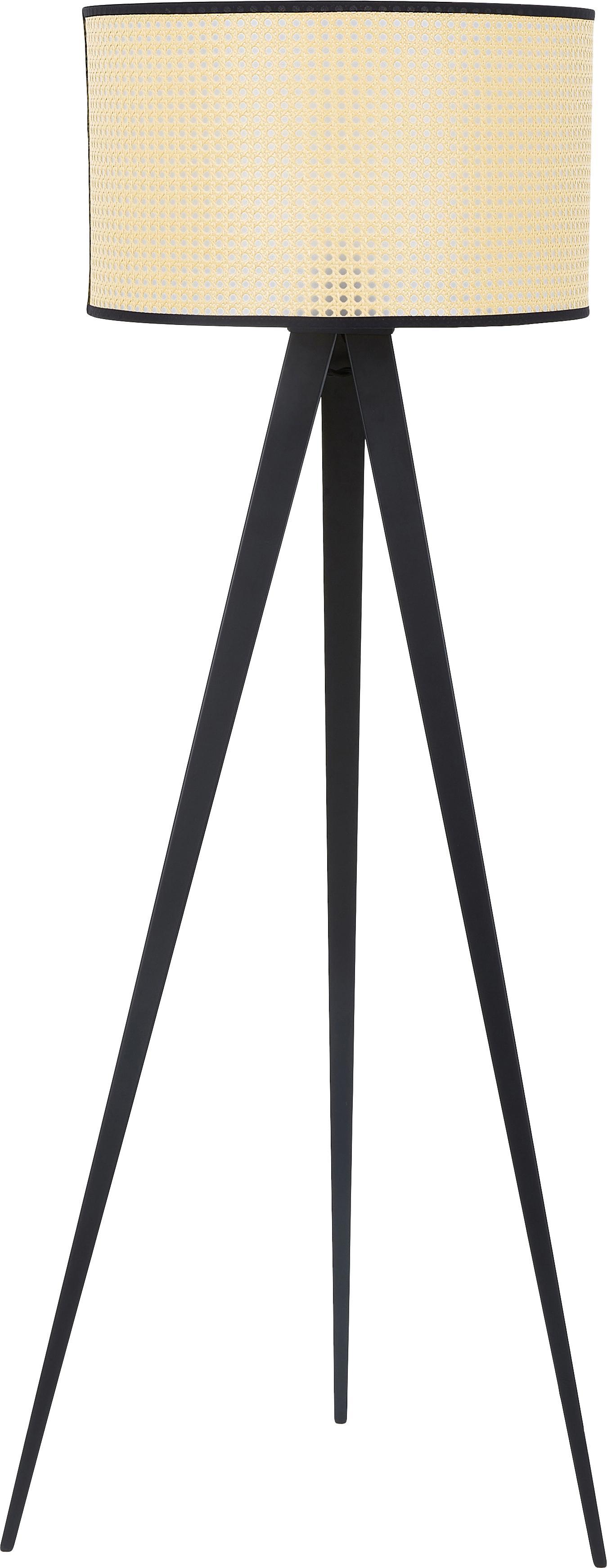 Lampada da terra con paralume in vimini Vienna, Paralume: materiale sintetico, Base della lampada: metallo verniciato a polv, Paralume: beige, nero Base della lampada: nero opaco Cavo: nero, Ø 50 x Alt. 154 cm