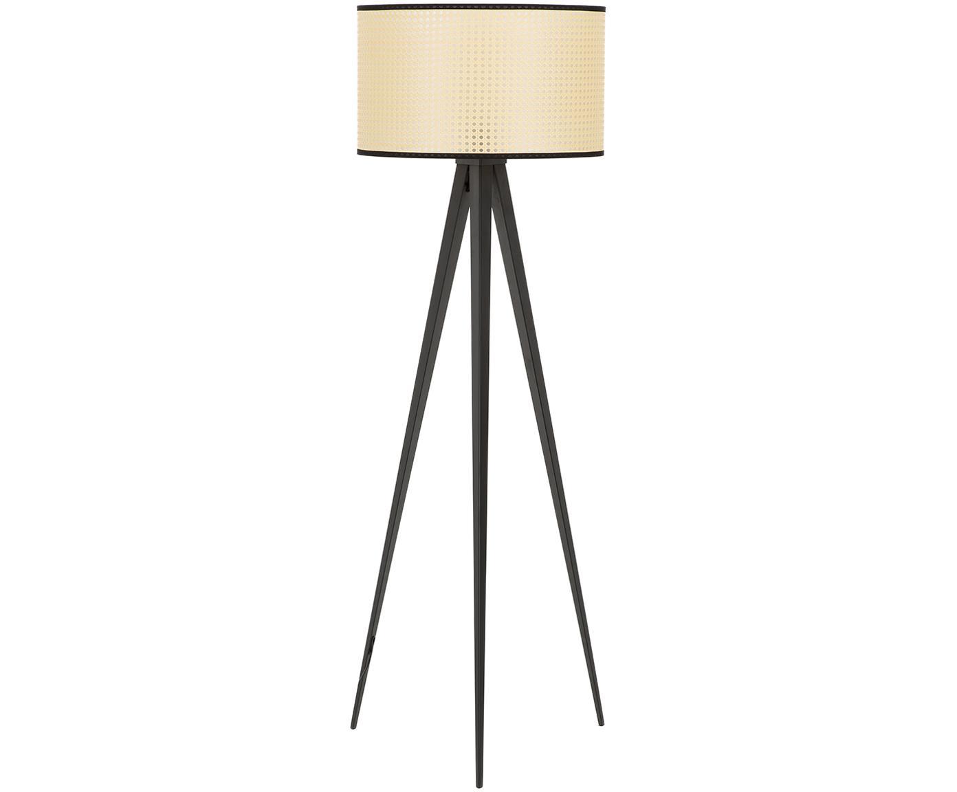 Lámpara de pie Vienna, Pantalla: plástico, Cable: tela, Beige, negro, ∅ 50 x Al 154 cm