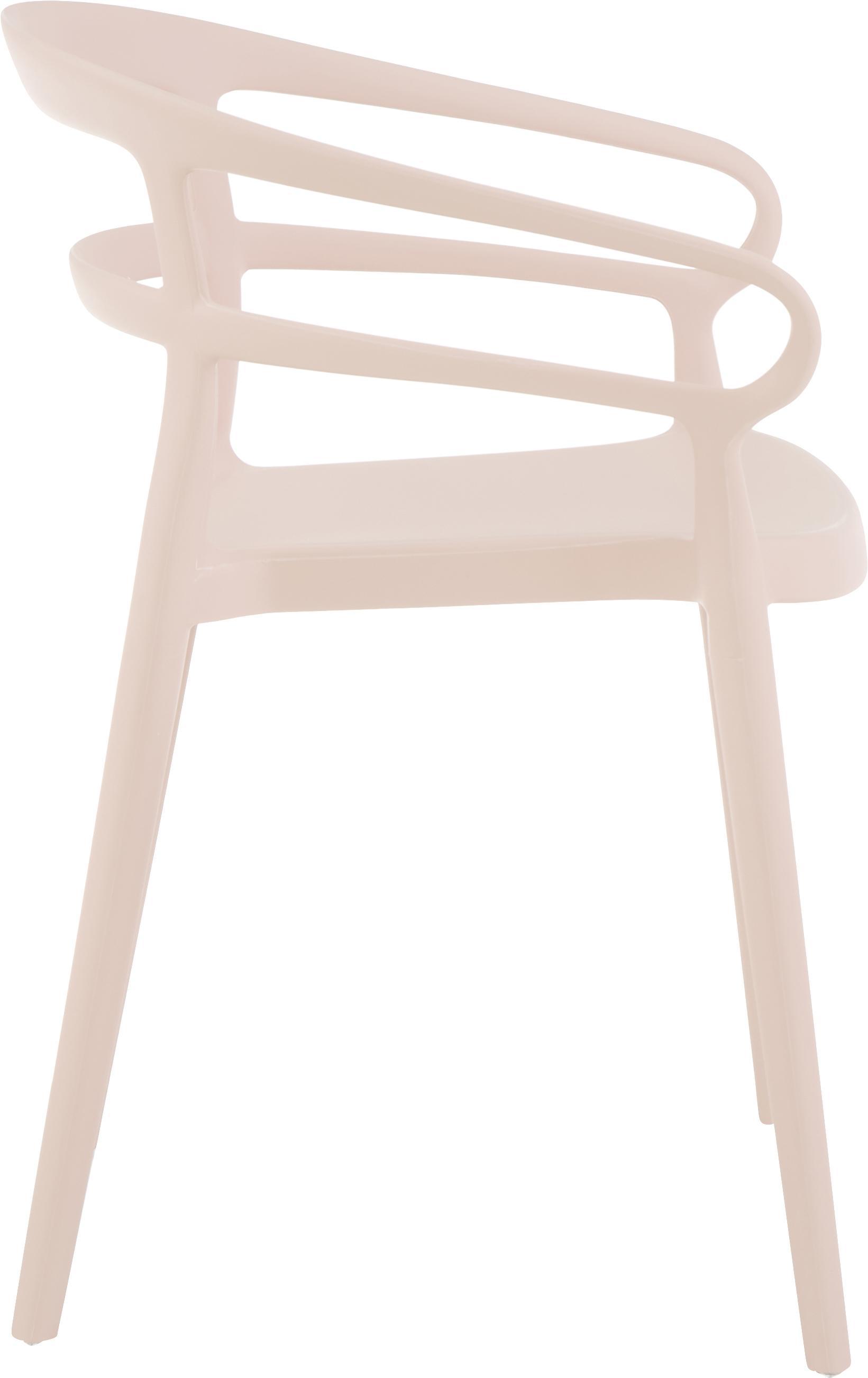 Kunststoffen armstoelen Rodi, 2 stuks, Polypropyleen, Roze, B 52 x D 57 cm