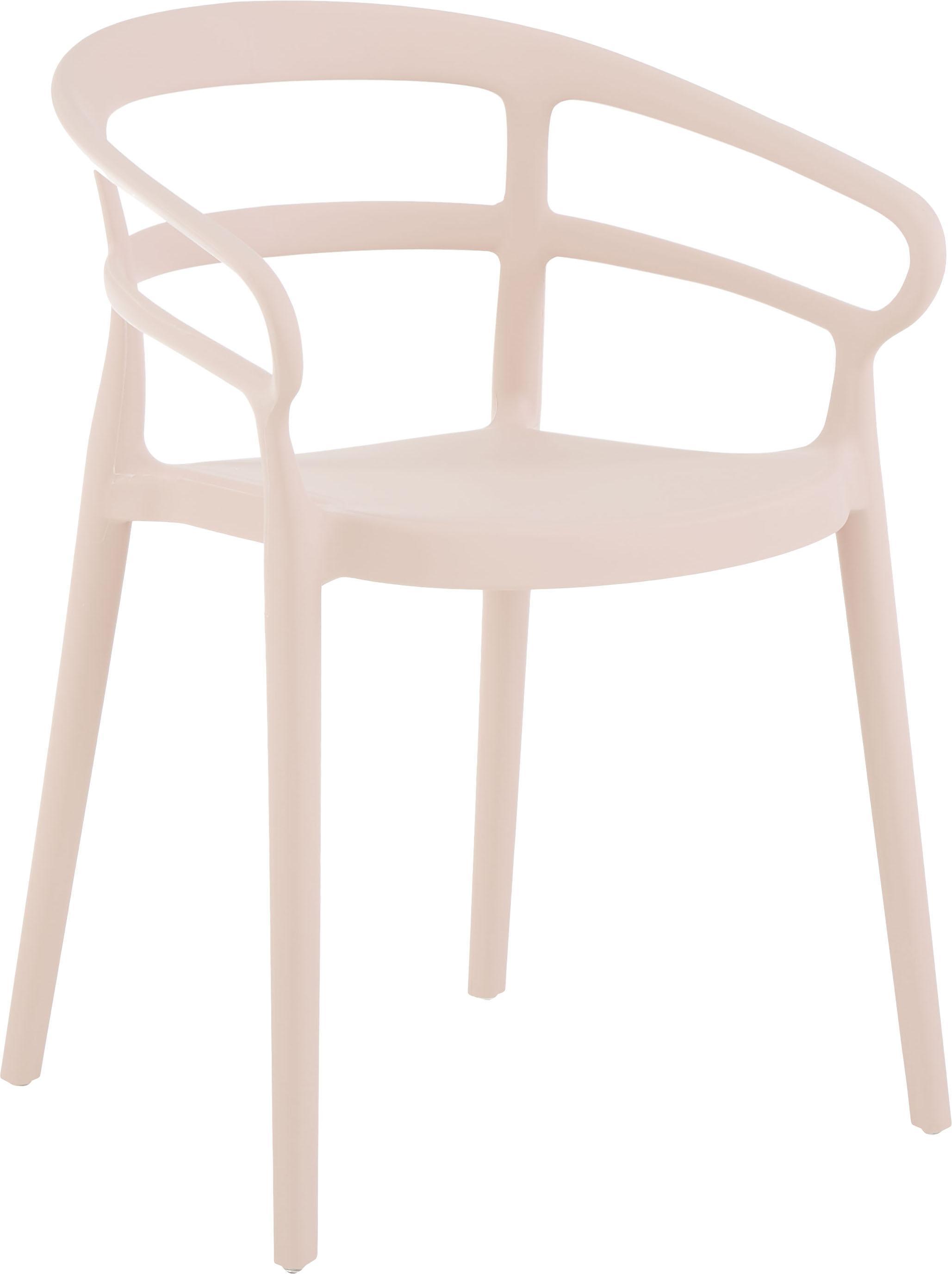 Sedia con braccioli in plastica Rodi 2 pz, Polipropilene, Rosa, Larg. 52 x Prof. 57 cm