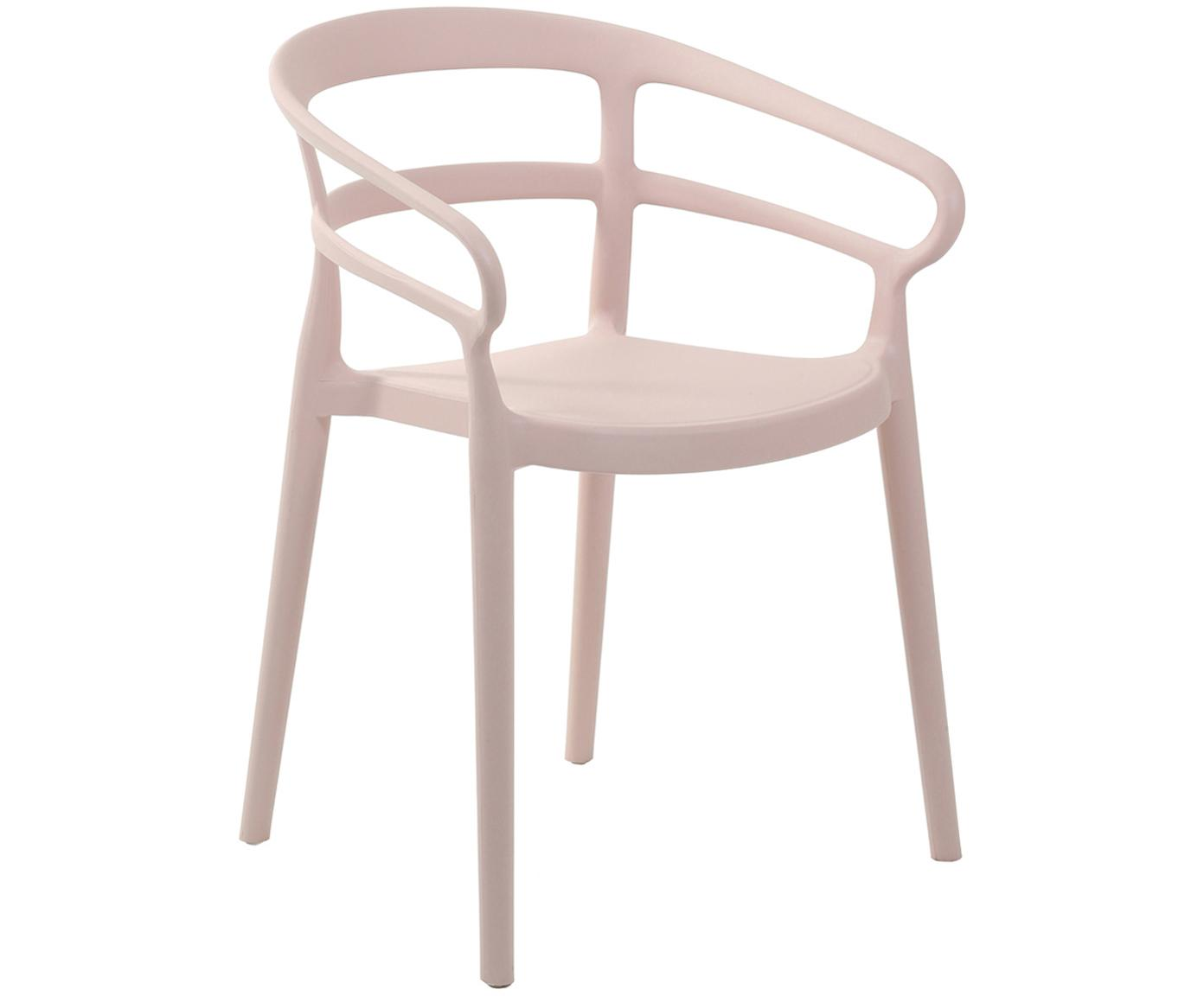 Krzesło z tworzywa sztucznego z podłokietnikami Rodi, 2 szt., Polipropylen, Blady różowy, S 52 x G 57 cm