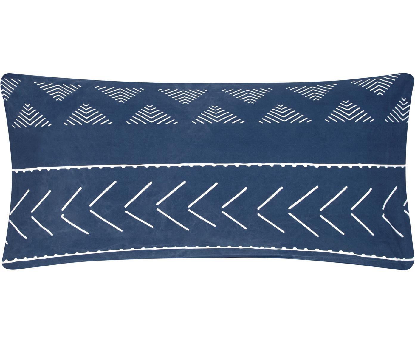 Poszewka na poduszkę z bawełny z efektem sprania Kohana, 2szt., Ciemny niebieski, ecru, S 40 x D 80 cm