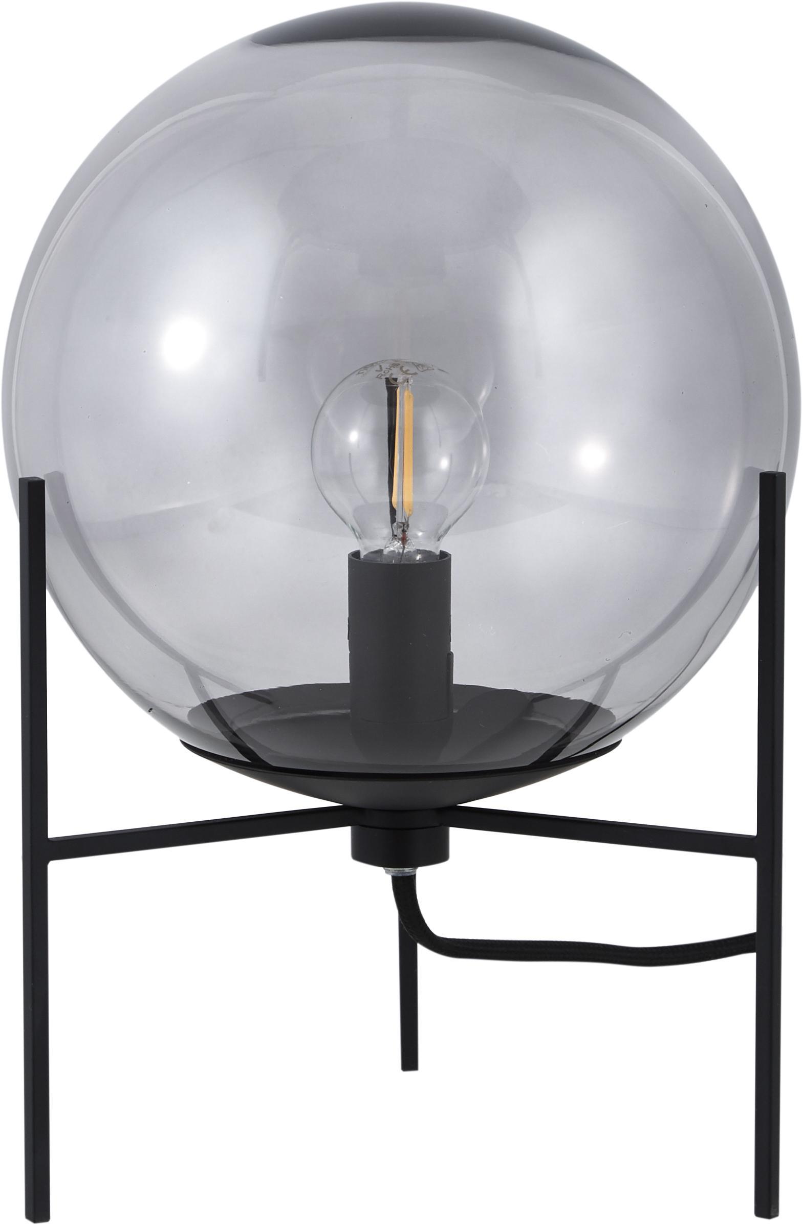 Lámpara de mesa Alton, estilo industrial, Pantalla: vidrio, Estructura: metal recubierto, Cable: plástico, Negro, gris, transparente, Ø 20 x Al 29 cm