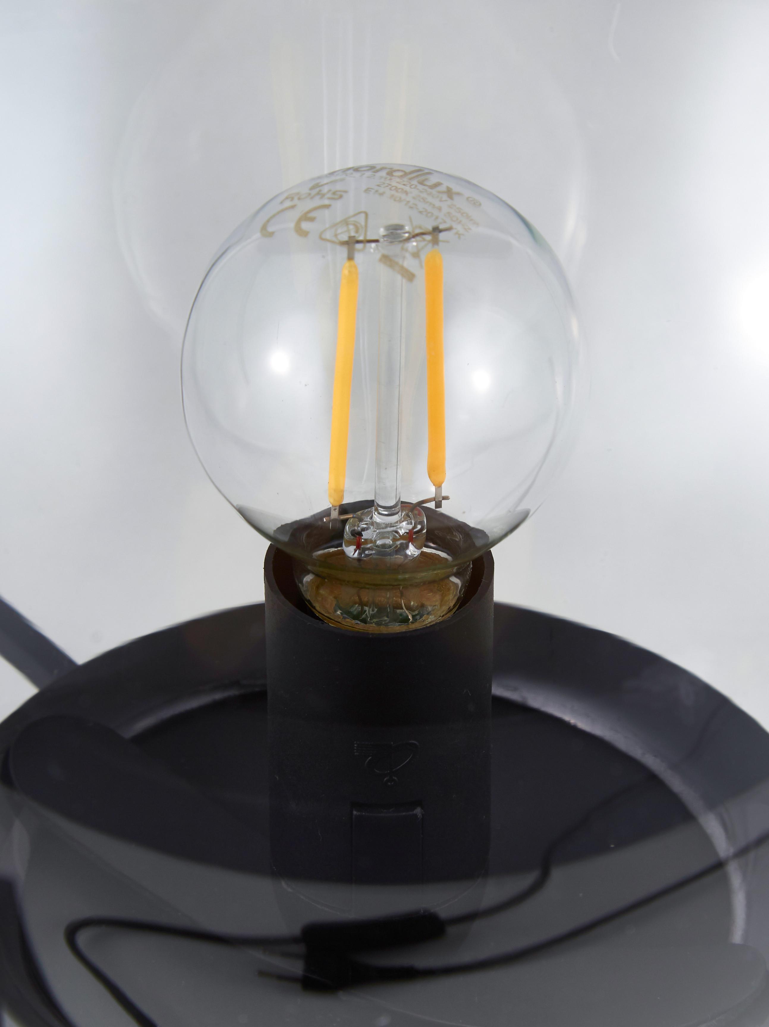Tischlampe Alton aus Glas, Lampenschirm: Glas, Schwarz, Grau, transparent, Ø 20 x H 29 cm