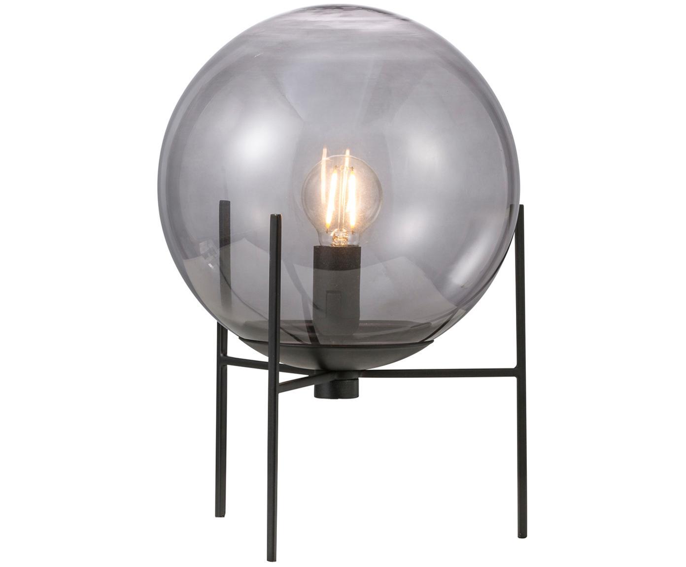 Lámpara de mesa Alton, Pantalla: vidrio, Estructura: metal recubierto, Cable: plástico, Negro, gris, transparente, Ø 20 x Al 29 cm