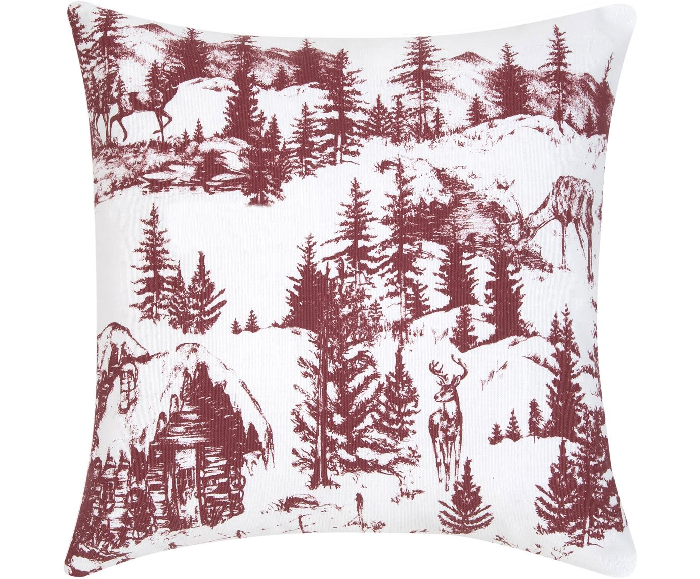 Federa arredo con motivo invernale Nordic, 100% cotone, Bianco, rosso, Larg. 40 x Lung. 40 cm