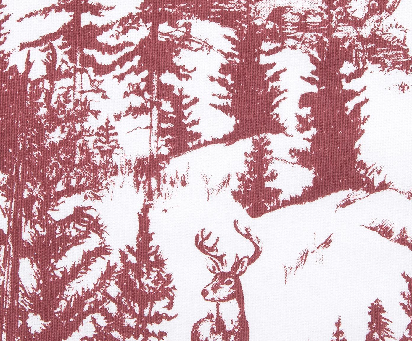 Kissenhülle Nordic mit winterlichem Motiv, 100% Baumwolle, Weiß, Rot, 40 x 40 cm