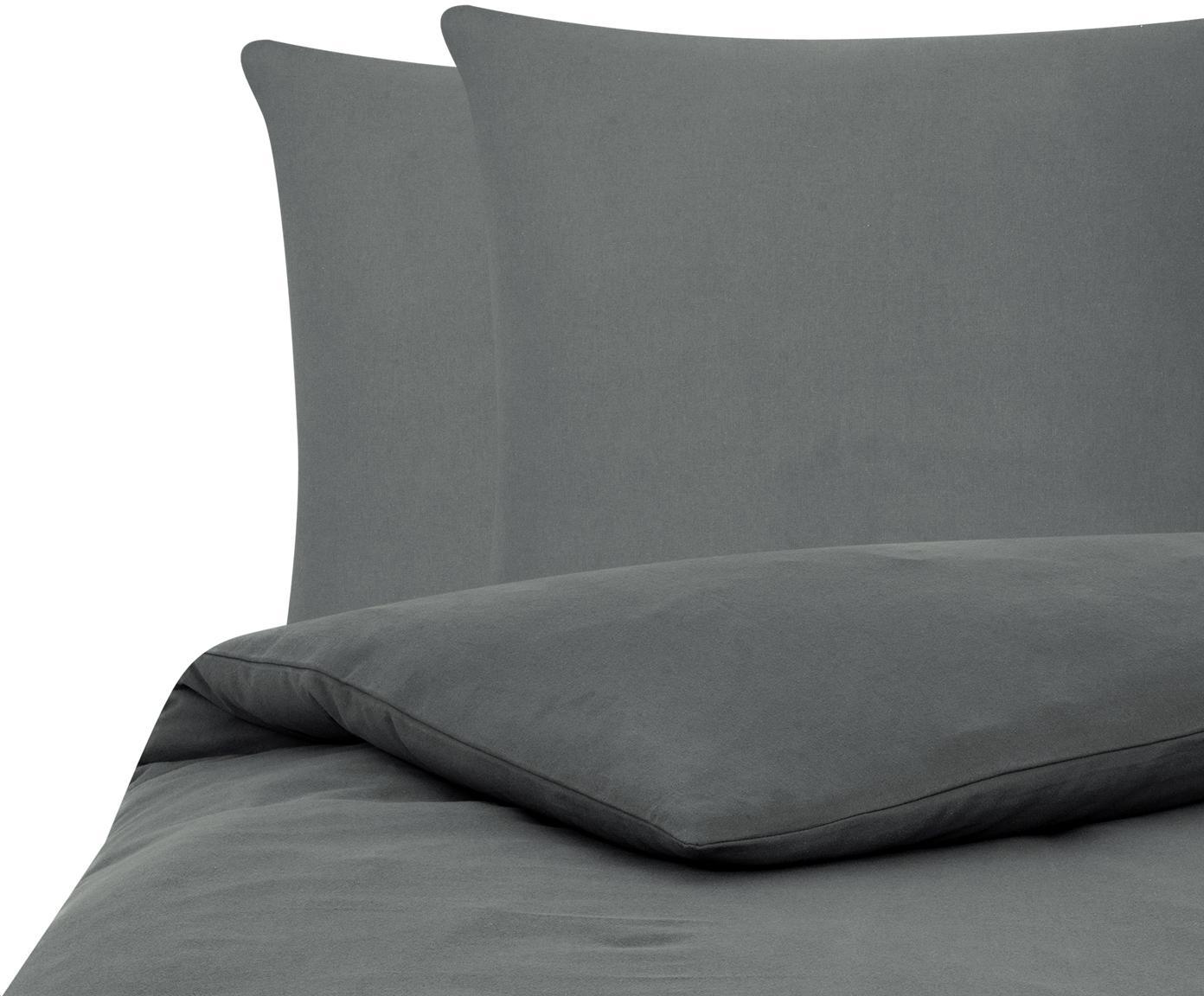 Flanell-Bettwäsche Biba in Dunkelgrau, Webart: Flanell Flanell ist ein s, Dunkelgrau, 200 x 200 cm + 2 Kissen 80 x 80 cm
