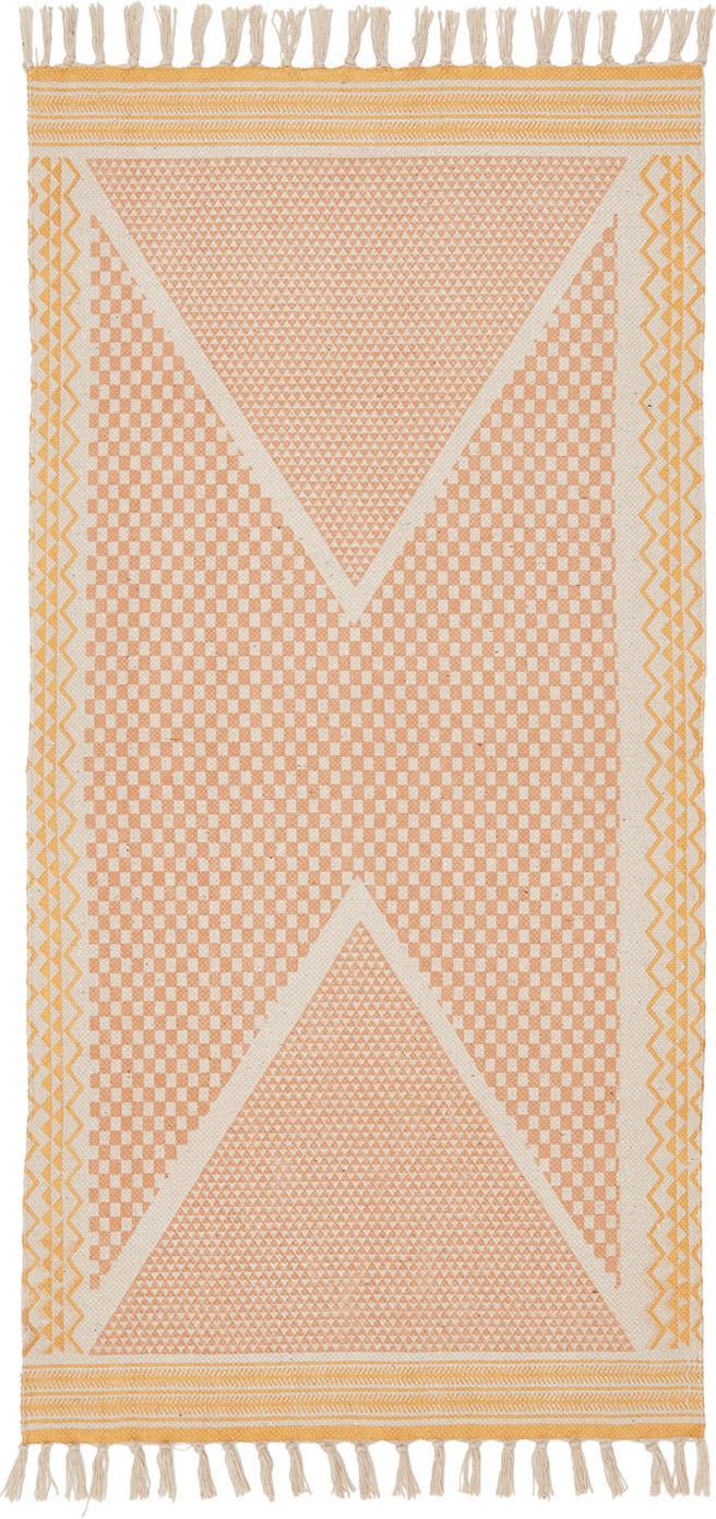 Bedruckter Baumwollteppich Kjell in Rosa/Gelb, Weiss, Rosa, Gelb, B 75 x L 145 cm (Grösse XS)