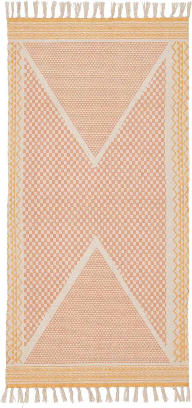 Bedruckter Baumwollteppich Kjell in Rosa/Gelb, Weiß, Rosa, Gelb, B 75 x L 145 cm (Größe XS)