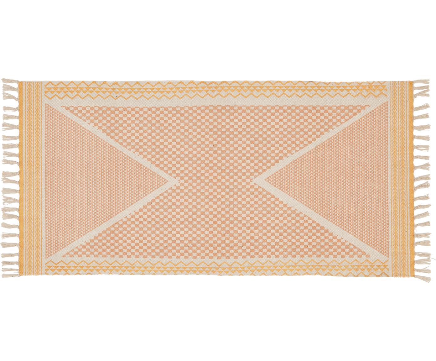 Alfombra de algodón Kjell, Blanco, rosa, dorado, An 75 x L 145 cm (Tamaño XS)