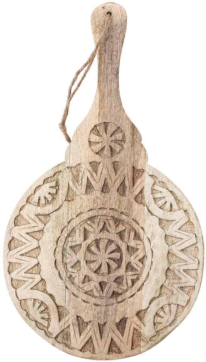 Okrągły półmisek z drewna mangowego Manu, Drewno mangowe, Beżowy, S 49 x G 28 cm