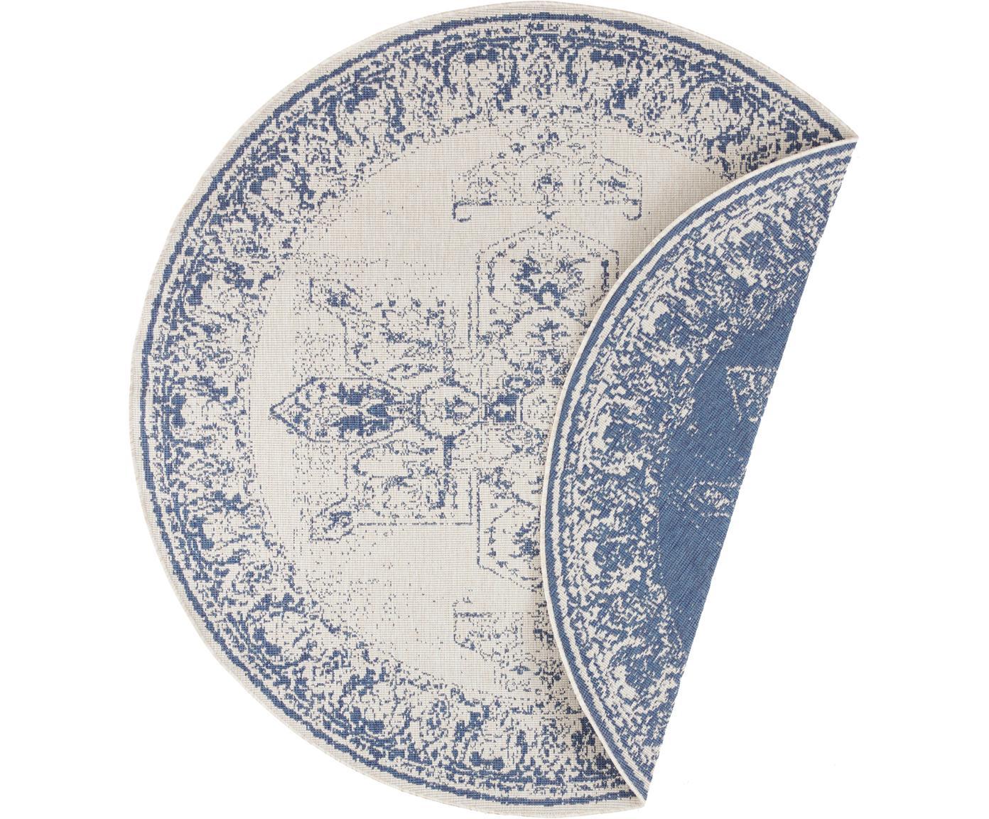 Runder Vintage In- & Outdoor-Wendeteppich Borbon, Blau/Creme, Blau, Cremefarben, Ø 200 cm (Größe L)