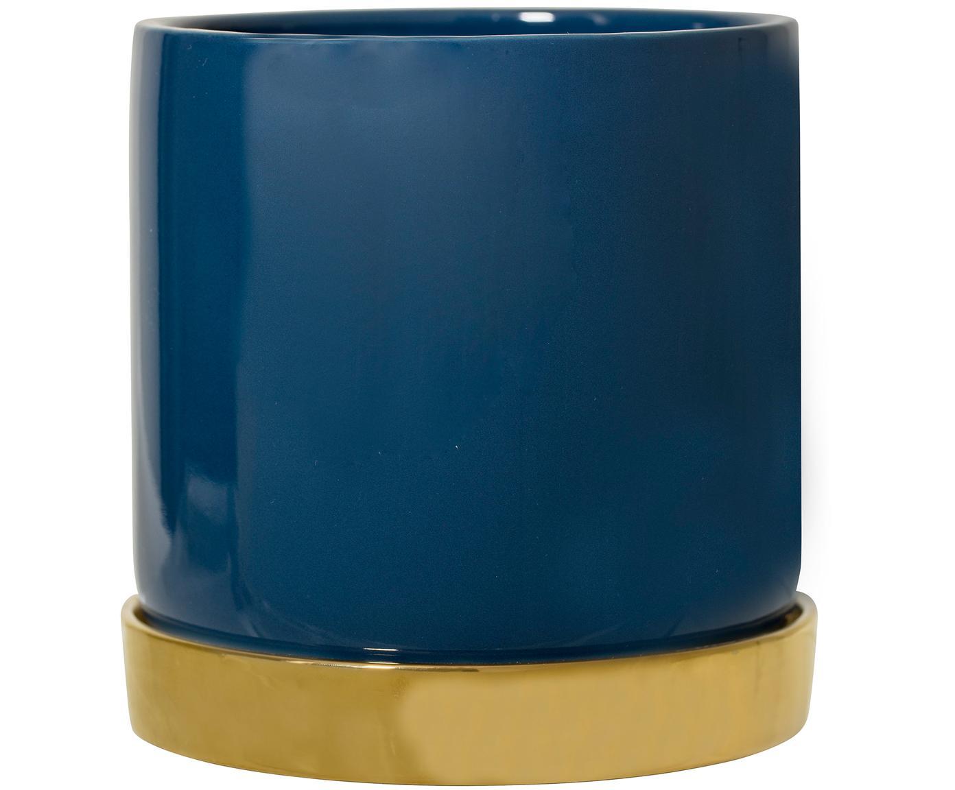 Pflanztopf Elin, Steingut, Topf: BlauUntersetzer: Gold, Ø 14 x H 14 cm