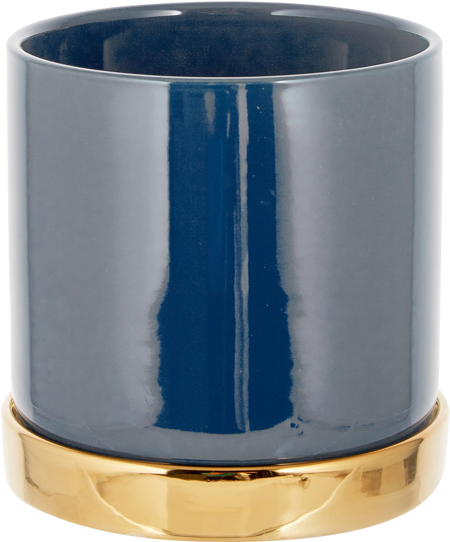 Plantenpot Elin, Keramiek, Pot: blauw. Onderzetter: goudkleurig, Ø 14 x H 14 cm