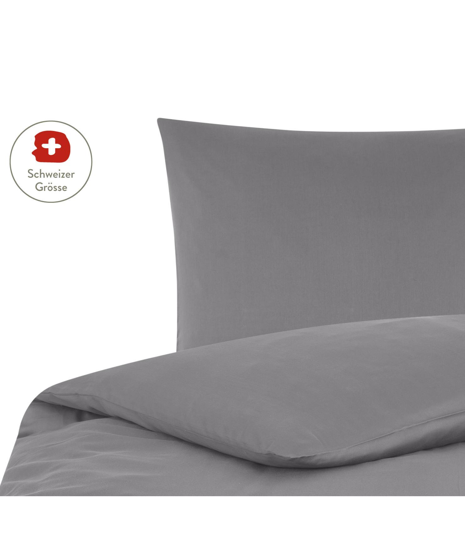 Baumwollsatin-Bettdeckenbezug Comfort in Dunkelgrau, Webart: Satin, leicht glänzend Fa, Dunkelgrau, 160 x 210 cm