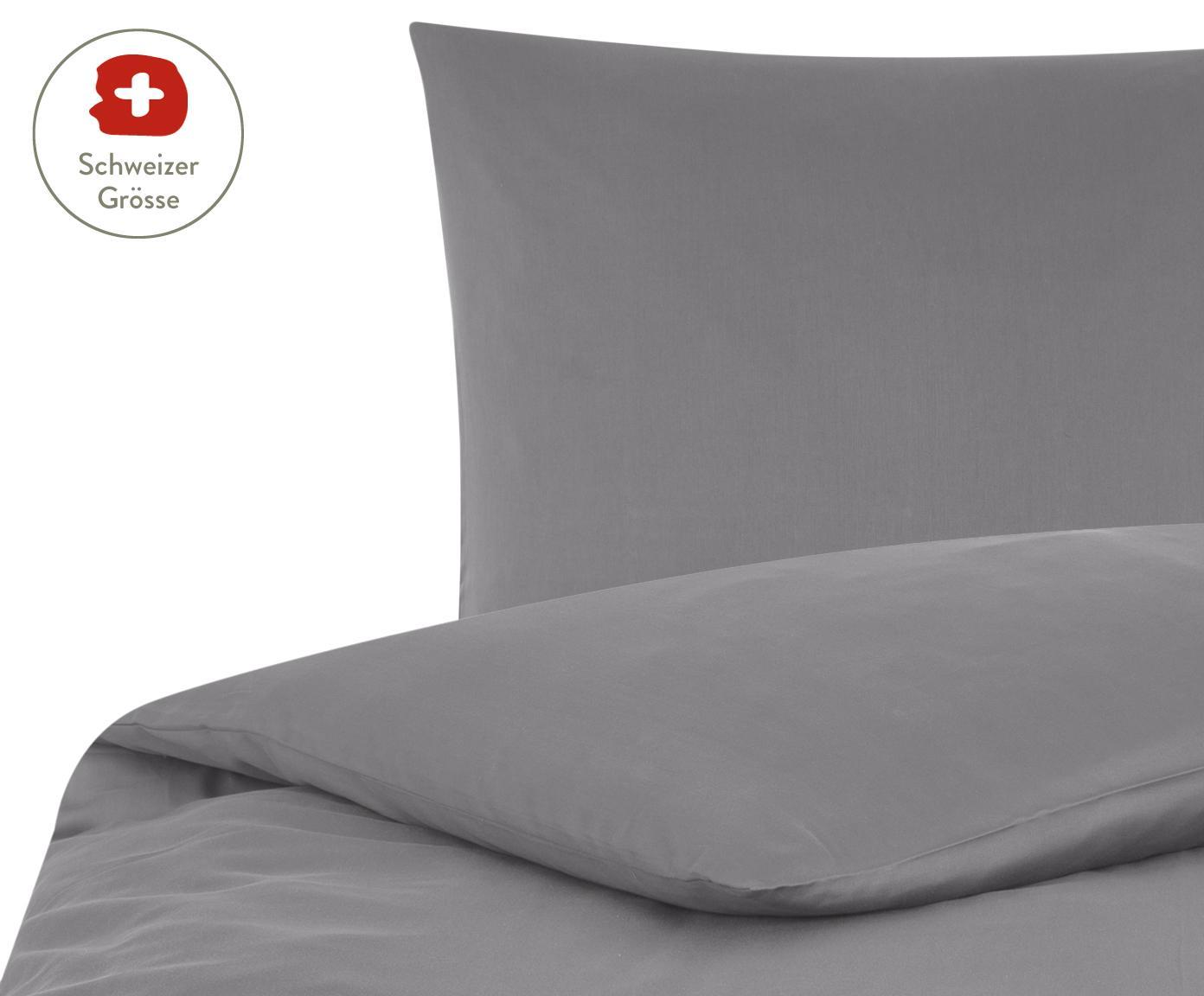 Baumwollsatin-Bettdeckenbezug Comfort in Dunkelgrau, Webart: Satin, leicht glänzend, Dunkelgrau, 160 x 210 cm