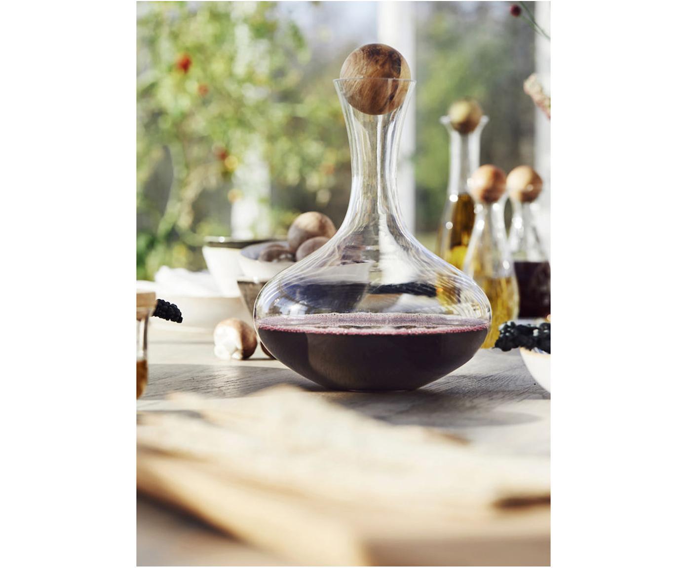 Mundgeblasener Dekanter Eden mit Holzdeckel, Verschluss: Eichenholz, Transparent, Eichenholz, 2 L