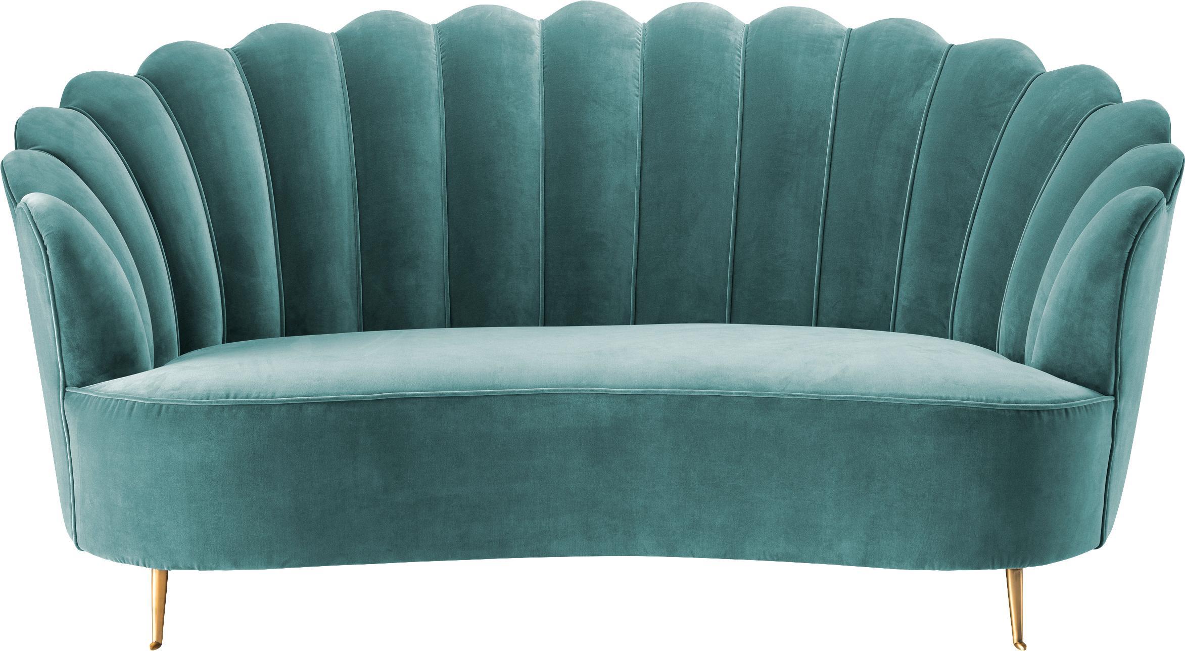 Fluwelen bank Messina (2-zits), Bekleding: 95% polyester, 5% katoen , Poten: messinggecoat edelstaal, Turquoise, B 180 x D 95 cm