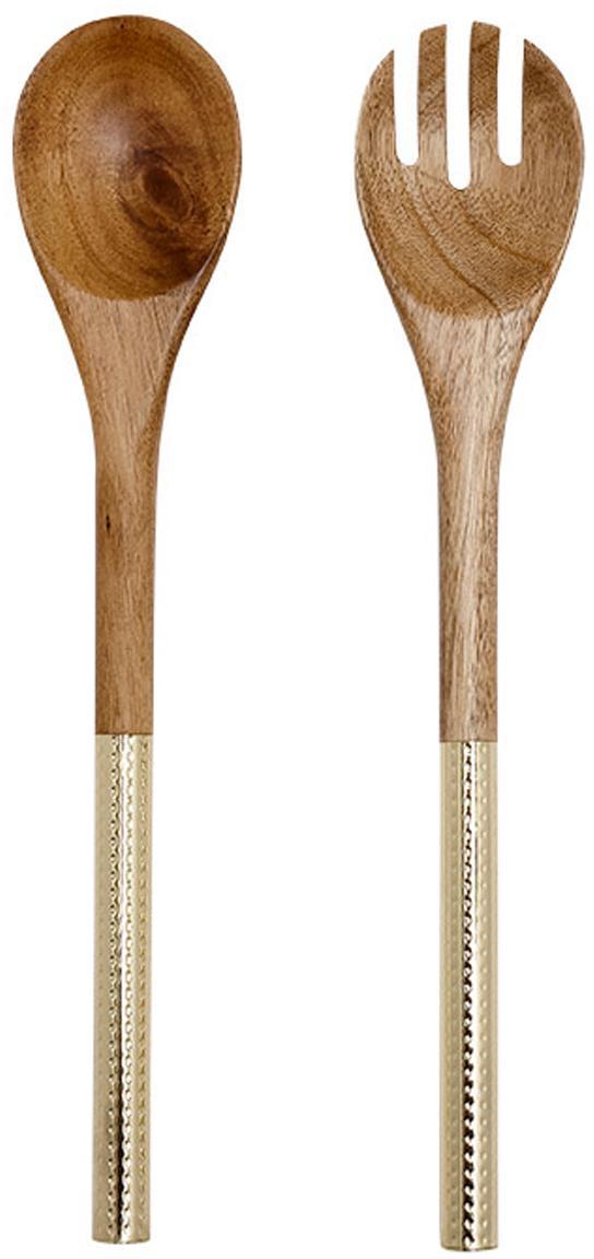 Saladebestek Oasis van acaciahout met goudkleurige handvatten, 2-delig, Bestek: acaciahout, Handvatten: gecoat edelstaal, Messingkleurig, acaciahout, L 37 cm