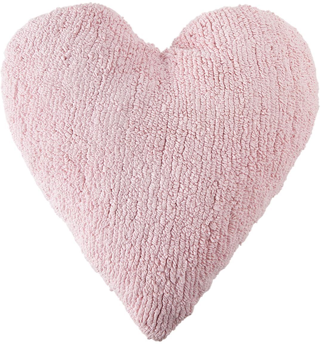 Cuscino a cuore imbottito Corazón, Rivestimento: 97% cotone, 3% cotone ric, Rosa chiaro, Larg. 47 x Lung. 50 cm