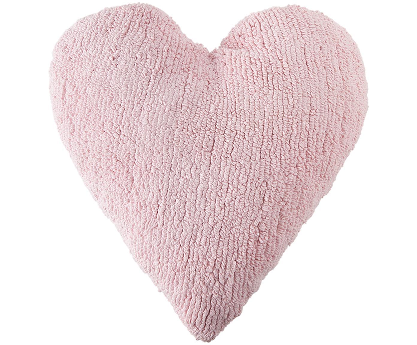 Cojín Corazón, con relleno, Funda: 97%algodón, 3%algodón r, Rosa pálido, An 47 x L 50 cm